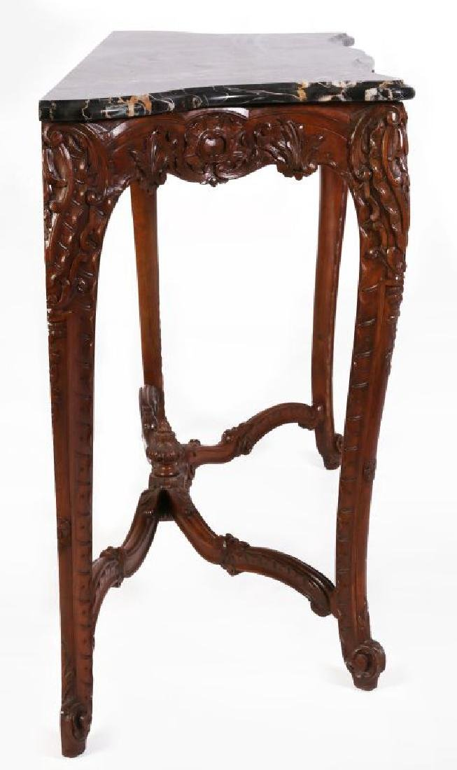 A LOUIS XV STYLE HIGHLY CARVED WALNUT CONSOLE - 8