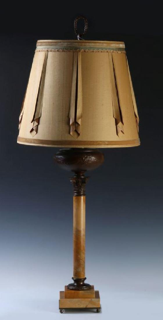 A FINE CONVERTED 19TH C. BRONZE AND MARBLE TABLE LAMP