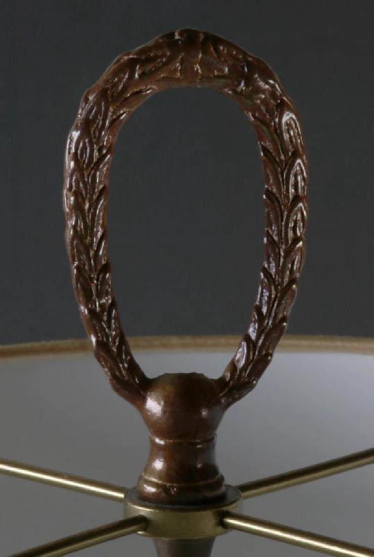 A FINE CONVERTED 19TH C. BRONZE AND MARBLE TABLE LAMP - 3