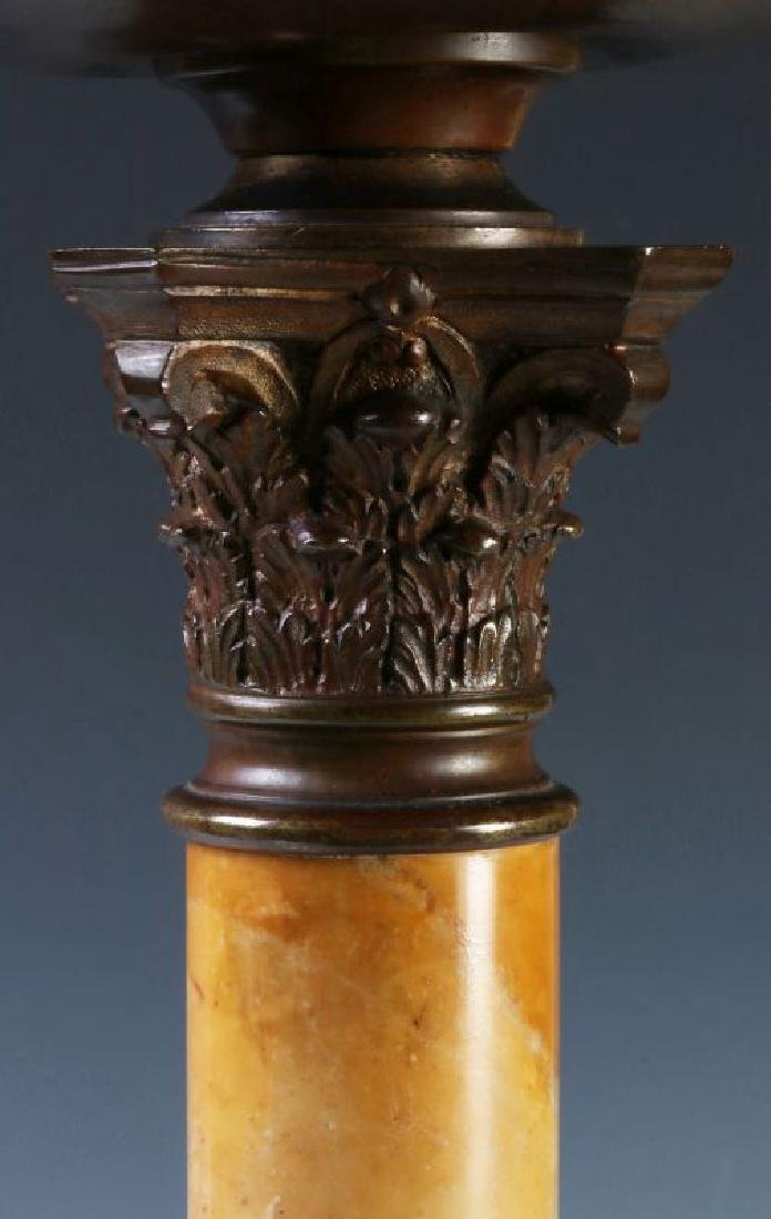 A FINE CONVERTED 19TH C. BRONZE AND MARBLE TABLE LAMP - 5