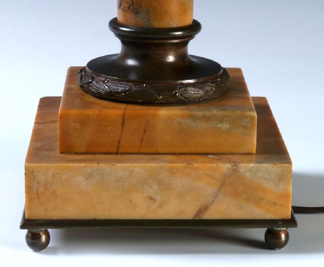 A FINE CONVERTED 19TH C. BRONZE AND MARBLE TABLE LAMP - 6