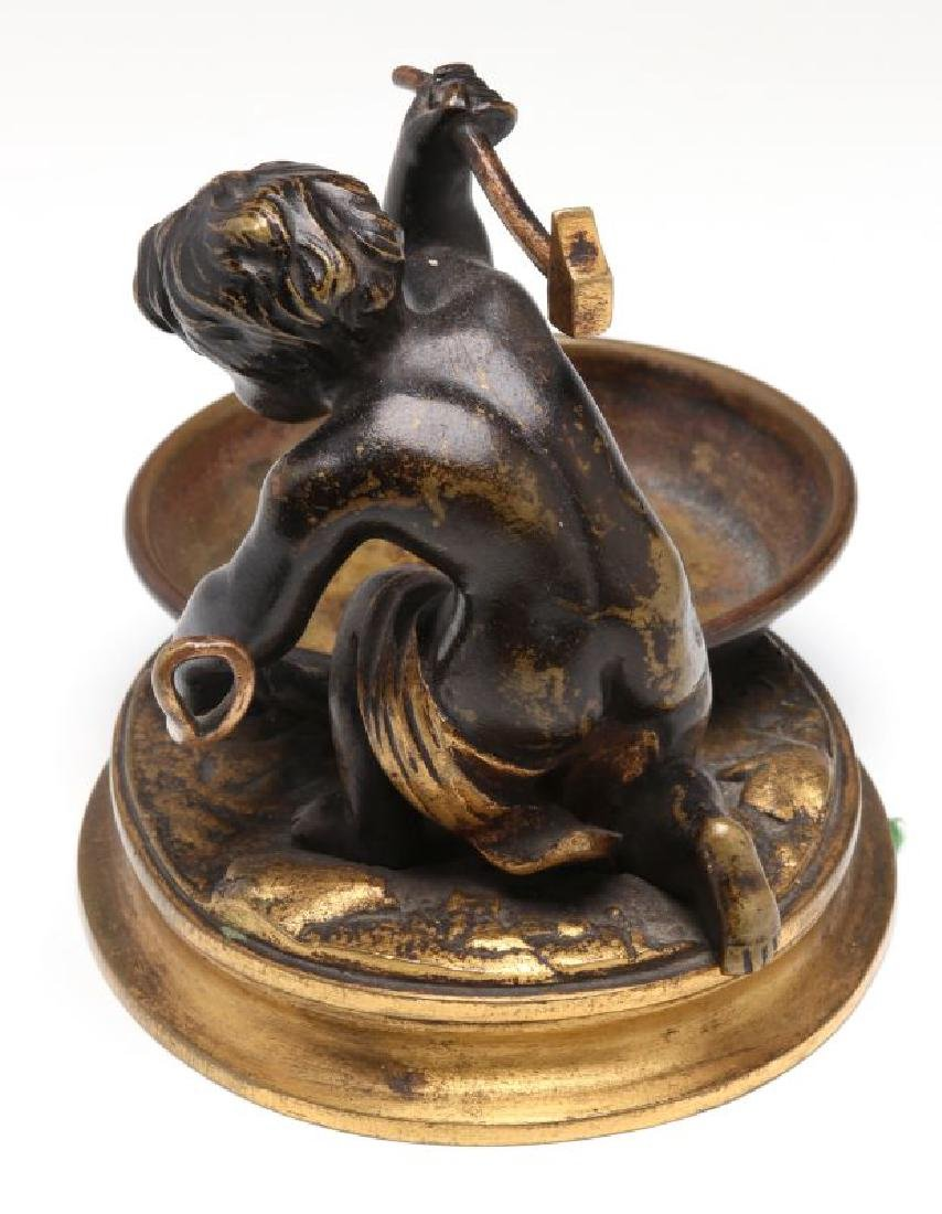 A SMALL 19TH CENTURY CABINET BRONZE OF CUPID BLACKSMITH - 5