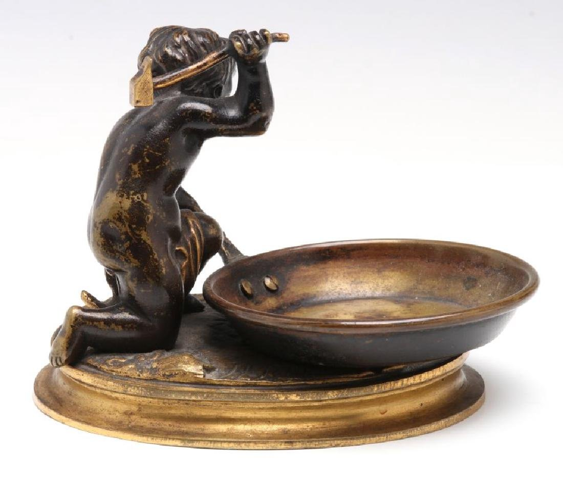 A SMALL 19TH CENTURY CABINET BRONZE OF CUPID BLACKSMITH - 6
