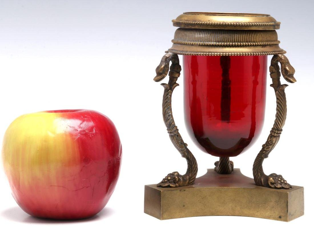 A 19TH C. FRENCH RUBY GLASS VASE IN BRONZE STAND - 2