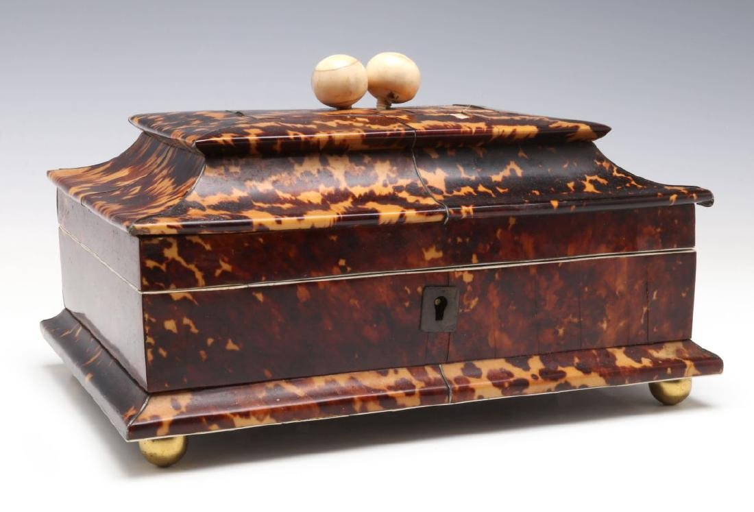 A 19TH CENTURY TORTOISE VENEER SEWING BOX