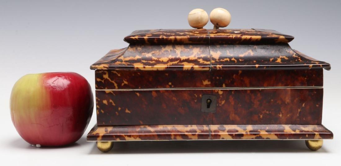 A 19TH CENTURY TORTOISE VENEER SEWING BOX - 2