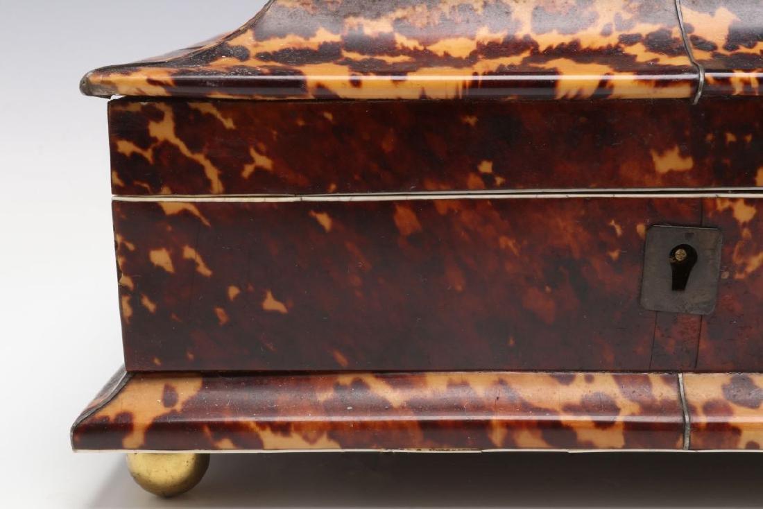 A 19TH CENTURY TORTOISE VENEER SEWING BOX - 3