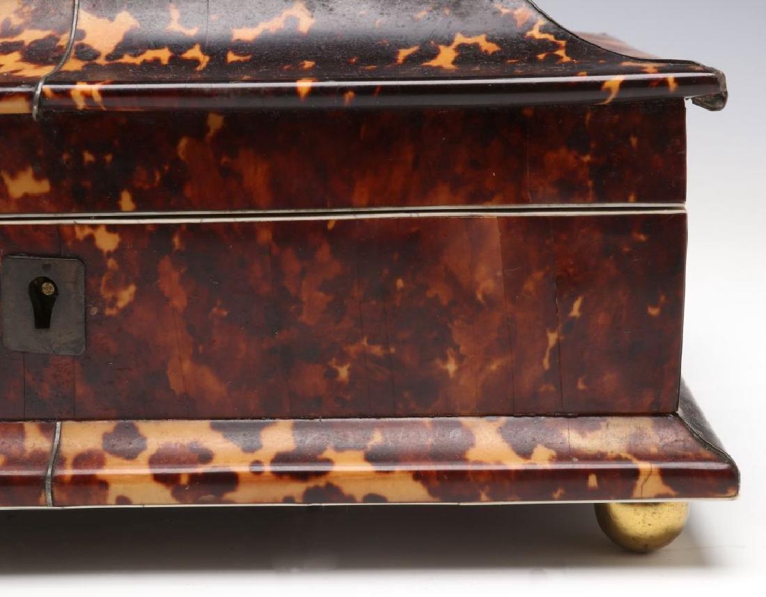A 19TH CENTURY TORTOISE VENEER SEWING BOX - 4
