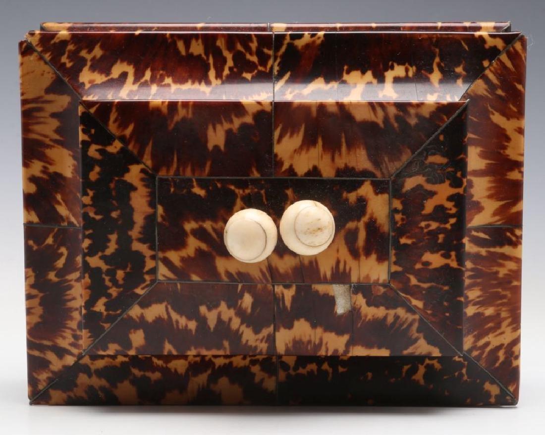 A 19TH CENTURY TORTOISE VENEER SEWING BOX - 5