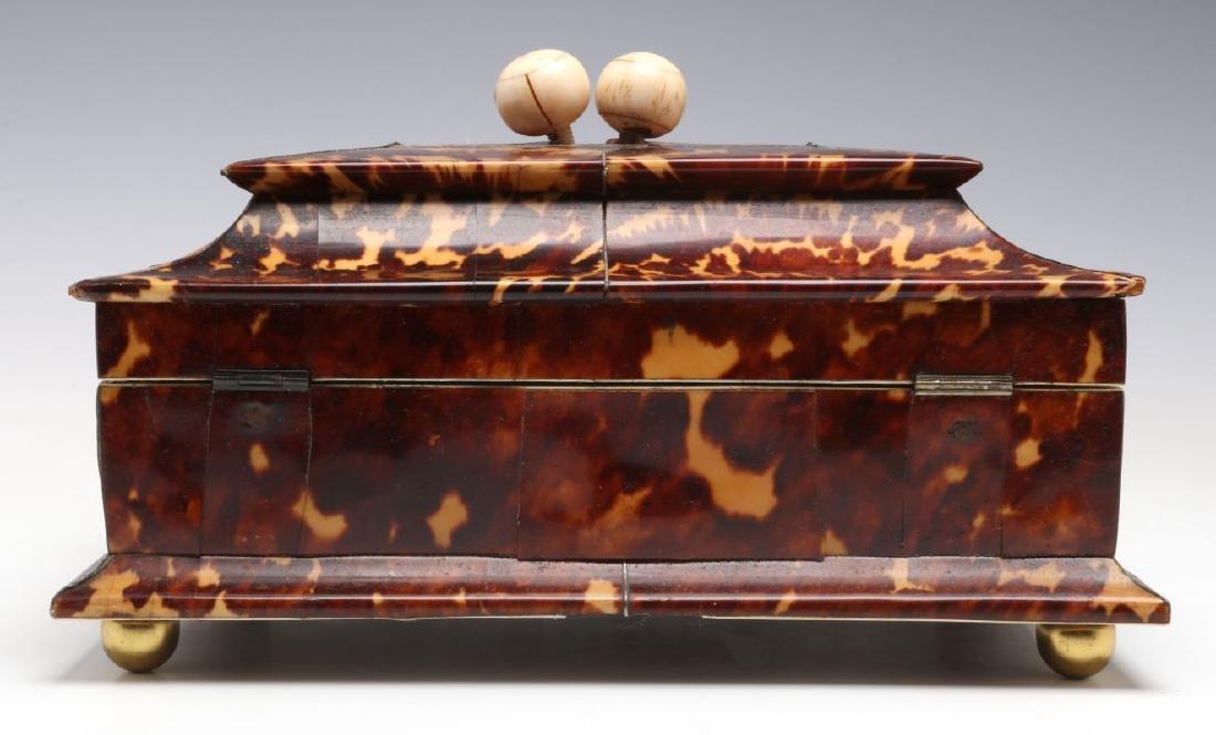 A 19TH CENTURY TORTOISE VENEER SEWING BOX - 7