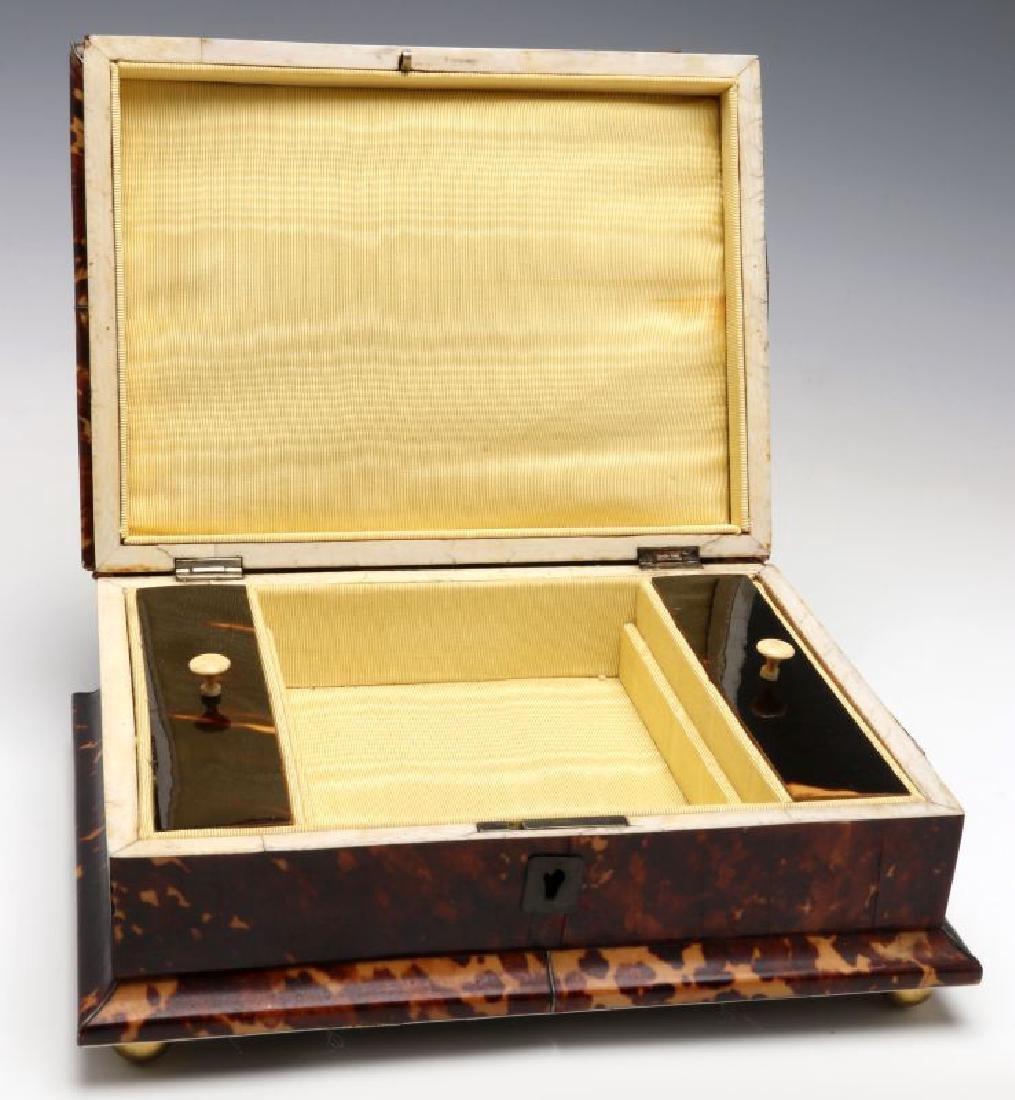 A 19TH CENTURY TORTOISE VENEER SEWING BOX - 9