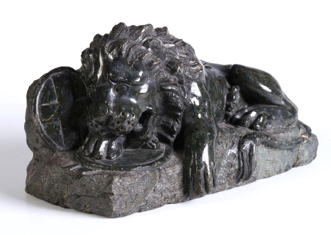 A 19TH CENTURY CARVED MARBLE LION OF LUCERNE
