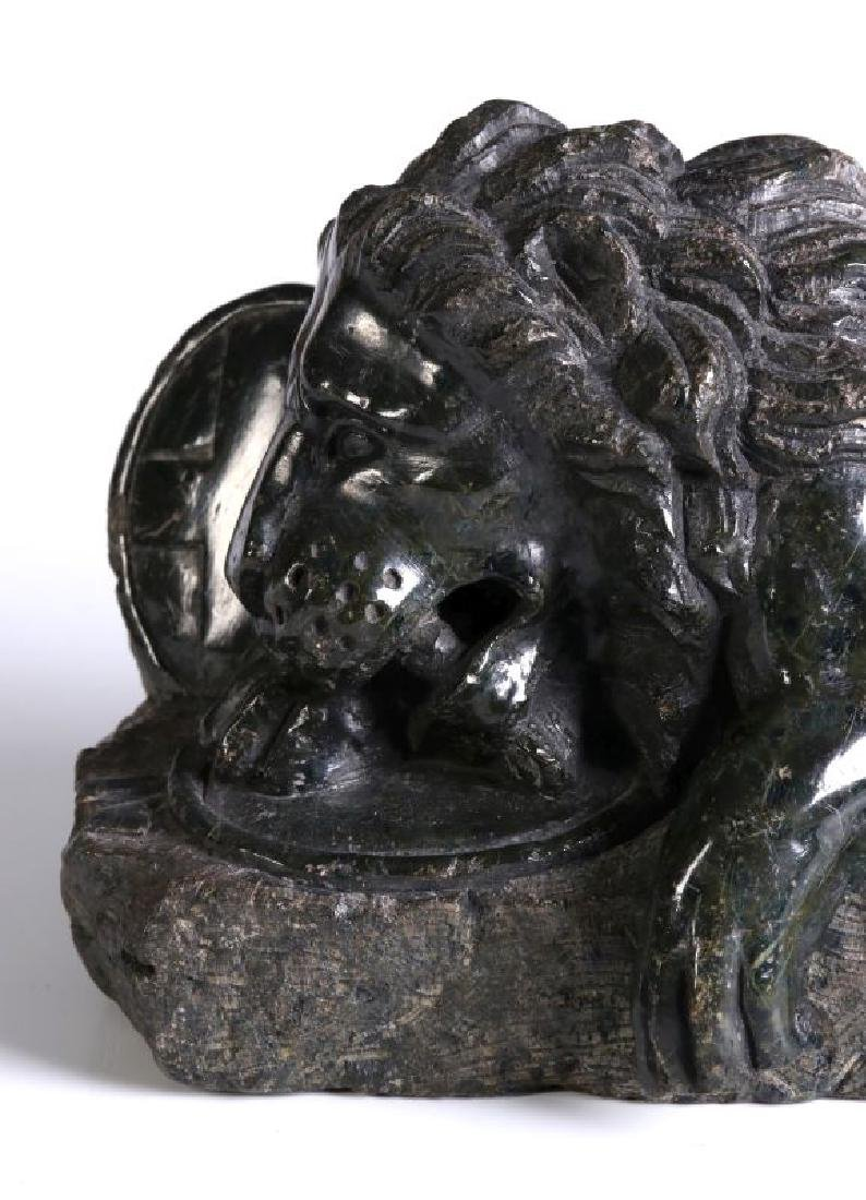 A 19TH CENTURY CARVED MARBLE LION OF LUCERNE - 3