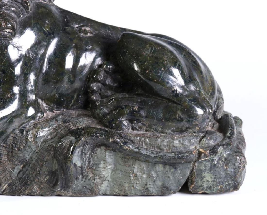 A 19TH CENTURY CARVED MARBLE LION OF LUCERNE - 4