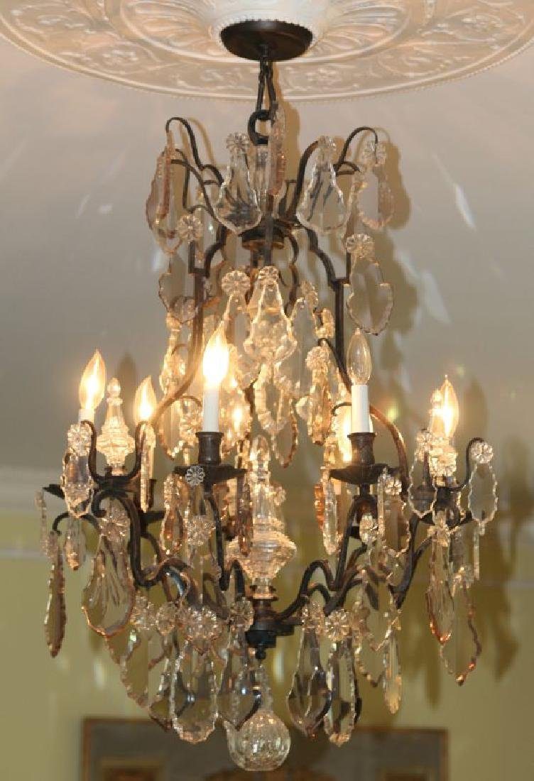 A FABULOUS OXIDIZED BRONZE NINE LIGHT CHANDELIER - 2