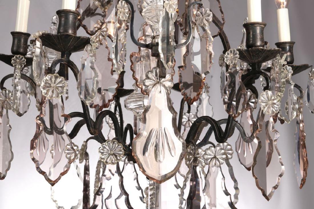 A FABULOUS OXIDIZED BRONZE NINE LIGHT CHANDELIER - 5