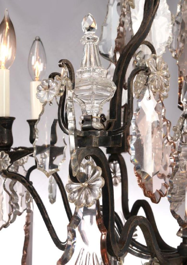 A FABULOUS OXIDIZED BRONZE NINE LIGHT CHANDELIER - 6