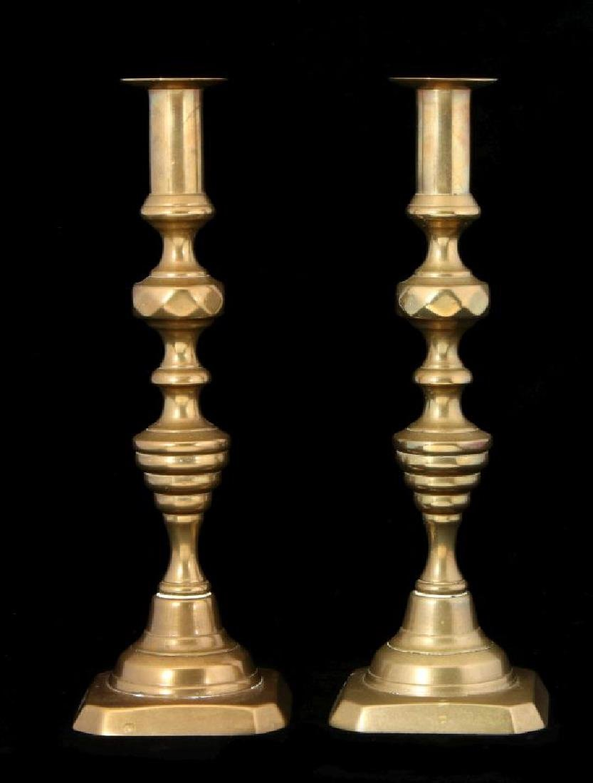 A PAIR 19TH C. BEEHIVE PATTERN CANDLE STICKS