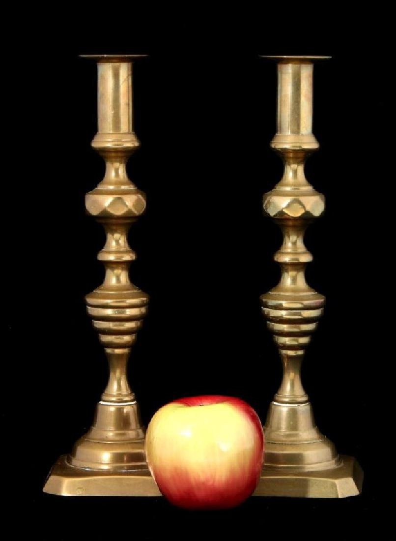 A PAIR 19TH C. BEEHIVE PATTERN CANDLE STICKS - 2