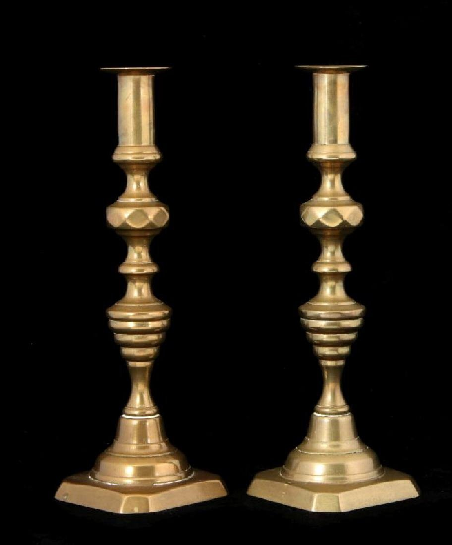 A PAIR 19TH C. BEEHIVE PATTERN CANDLE STICKS - 3