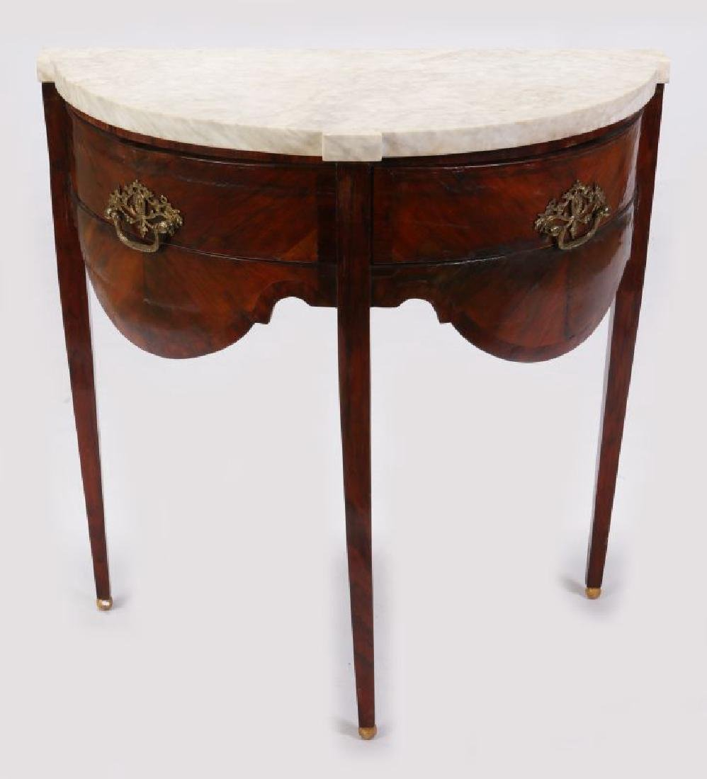 AN 18TH C. FRENCH TWO DRAWER DEMI-LUNE CONSOLE