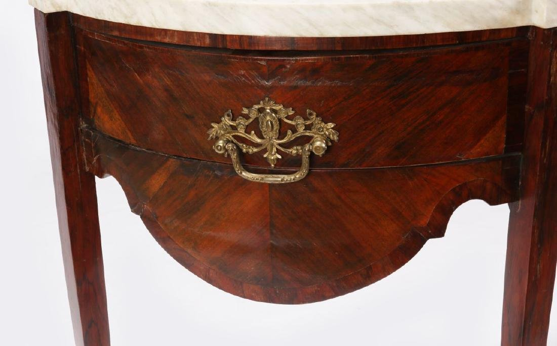 AN 18TH C. FRENCH TWO DRAWER DEMI-LUNE CONSOLE - 3