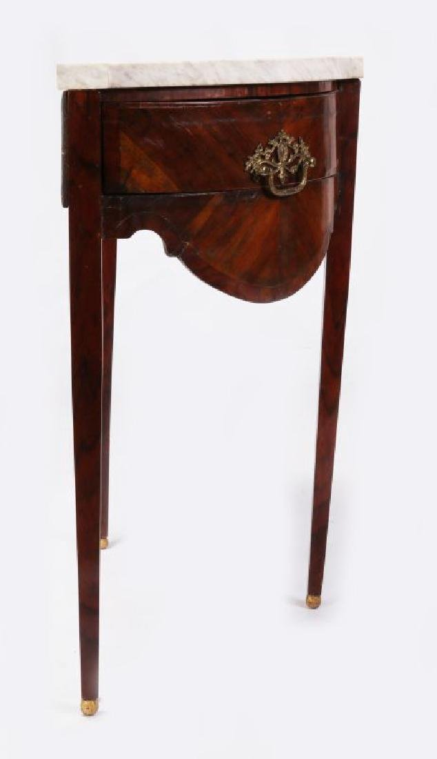 AN 18TH C. FRENCH TWO DRAWER DEMI-LUNE CONSOLE - 6