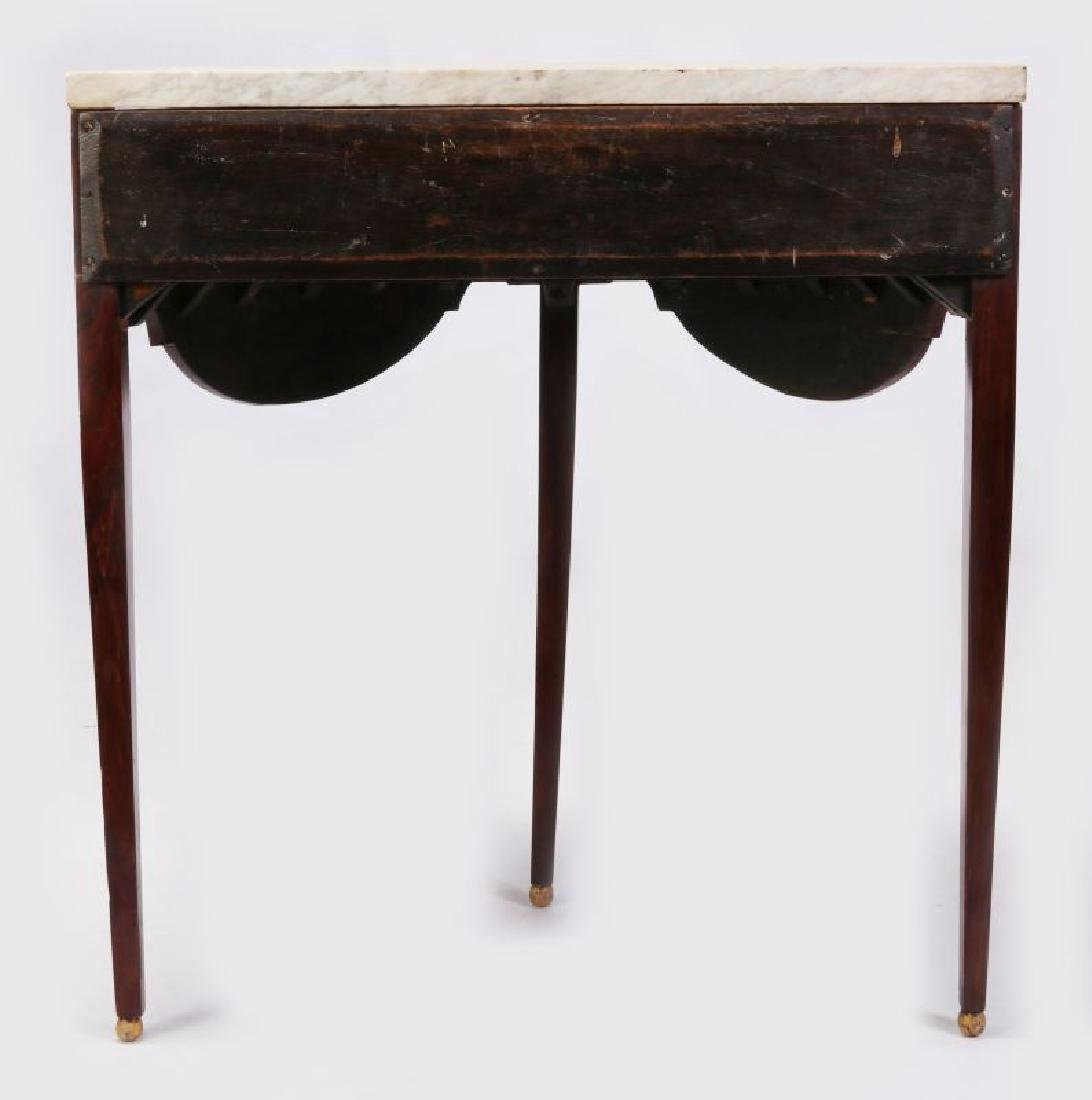 AN 18TH C. FRENCH TWO DRAWER DEMI-LUNE CONSOLE - 7