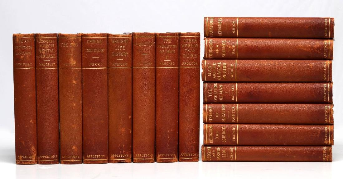 A LATE 19TH C. SET OF BOOKS ON SCIENCE AND HISTORY