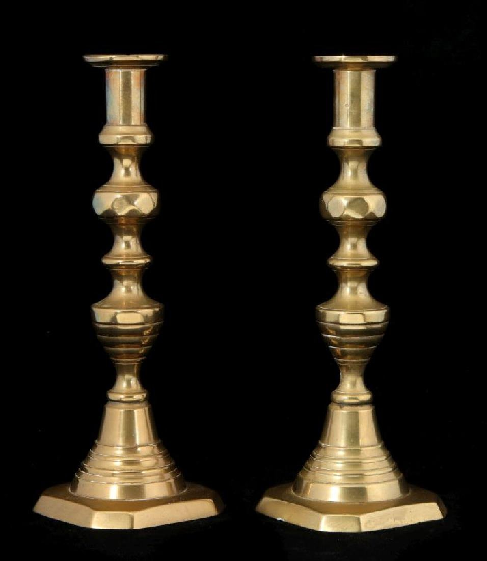 A PAIR 19TH C. BEEHIVE PATTERN CANDLE STICKS - 5