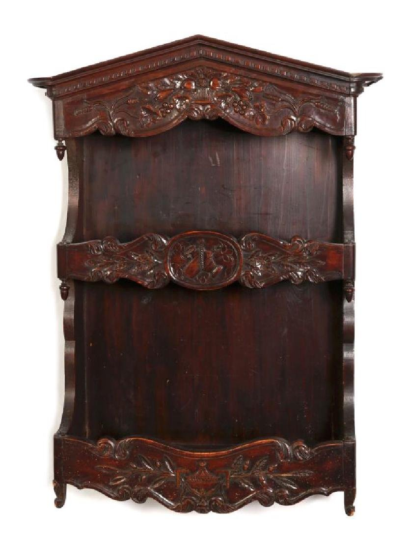 A 19TH CENTURY FRENCH CARVED ESTAGNIER PLATE RACK