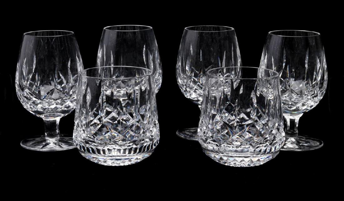SIX WATERFORD 'LISMORE' CUT CRYSTAL PIECES