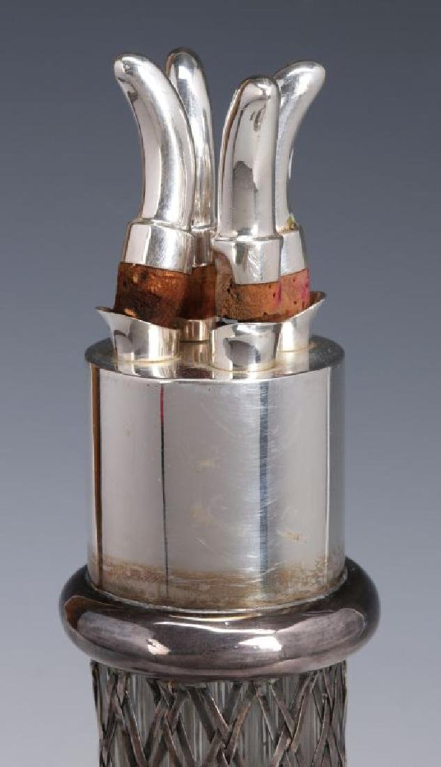 A FRENCH STERLING WRAPPED FOUR-CHAMBER BOTTLE - 2