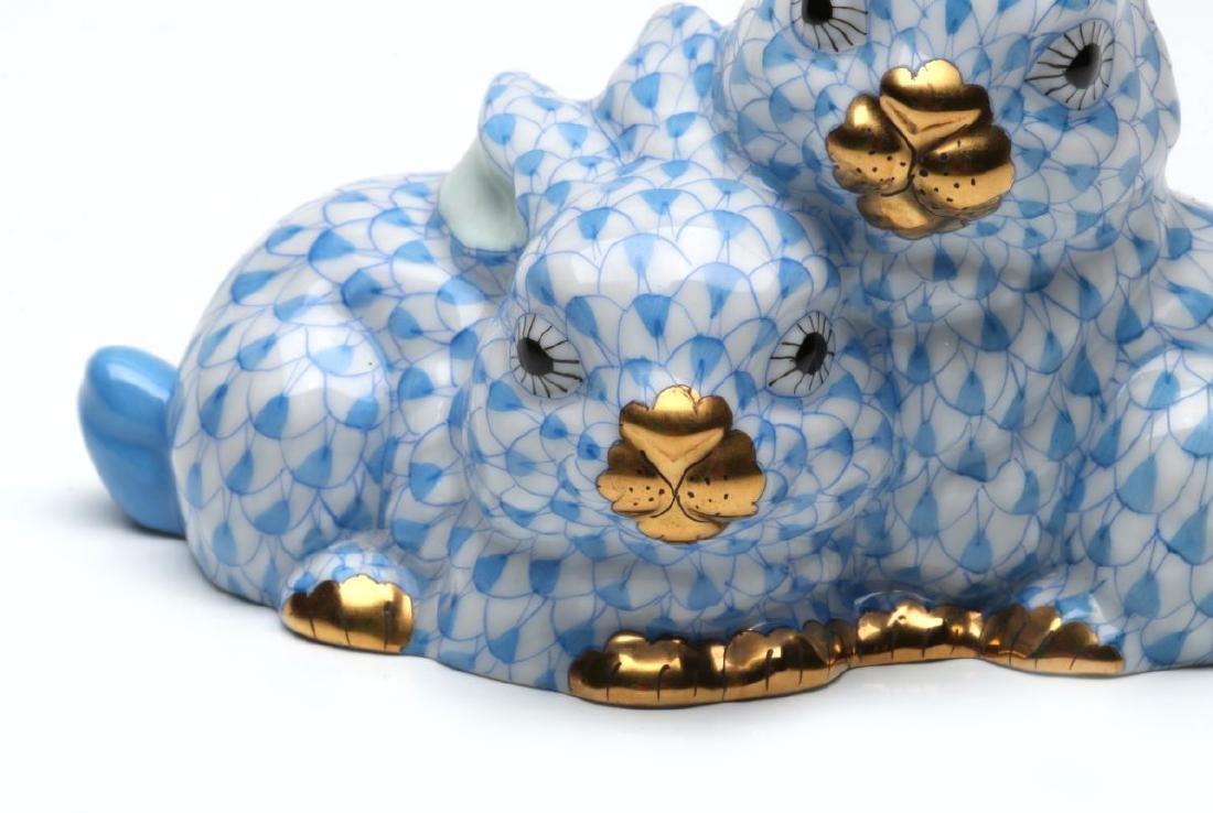 HEREND PORCELAIN BLUE FISHNET FIGURE - 4