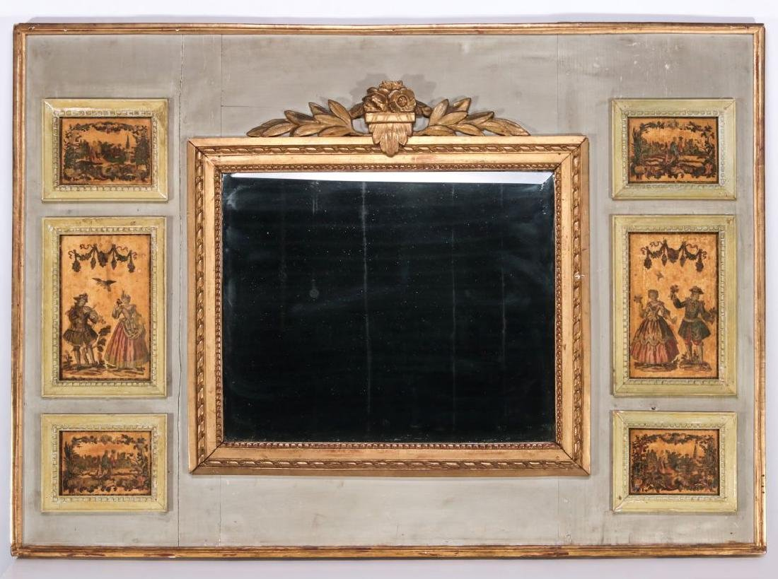 A VERY GOOD EARLY 19TH C. FRENCH PAINTED MIRROR