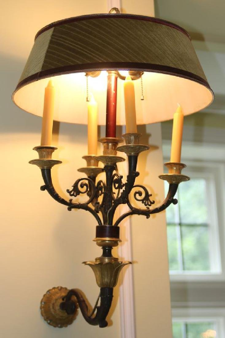 A PAIR 20TH C. FRENCH EMPIRE STYLE BRONZE SCONCES