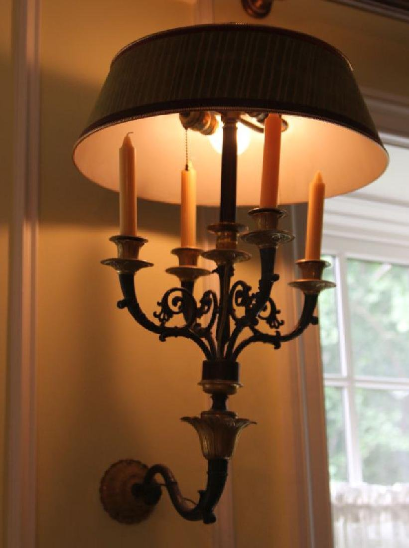 A PAIR 20TH C. FRENCH EMPIRE STYLE BRONZE SCONCES - 5