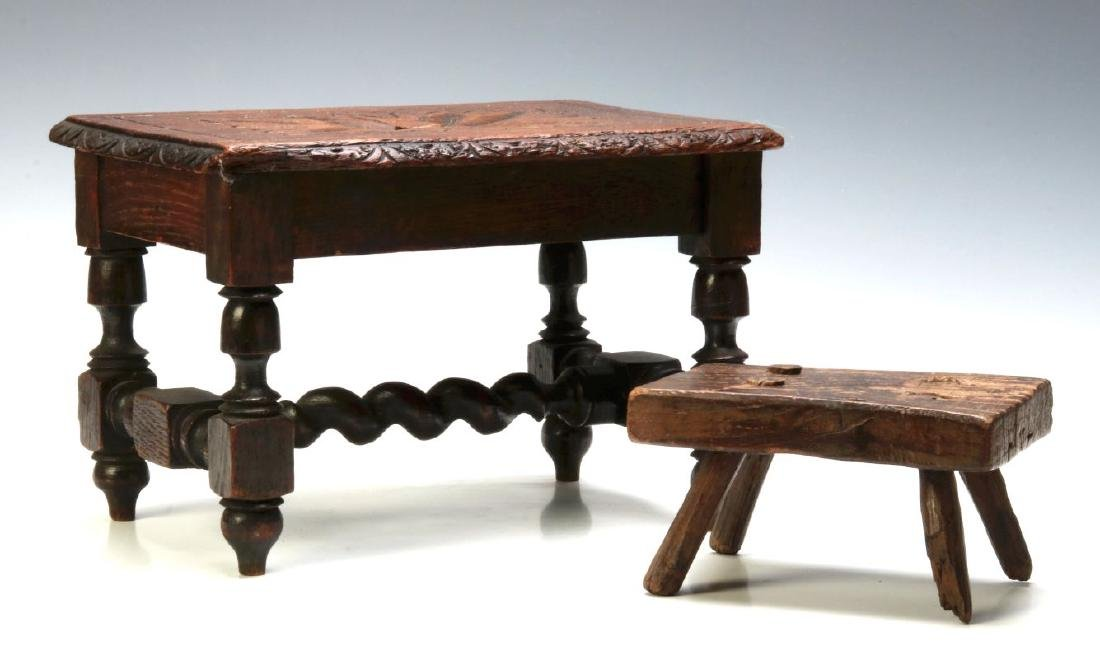 TWO EARLY CONTINENTAL STOOLS