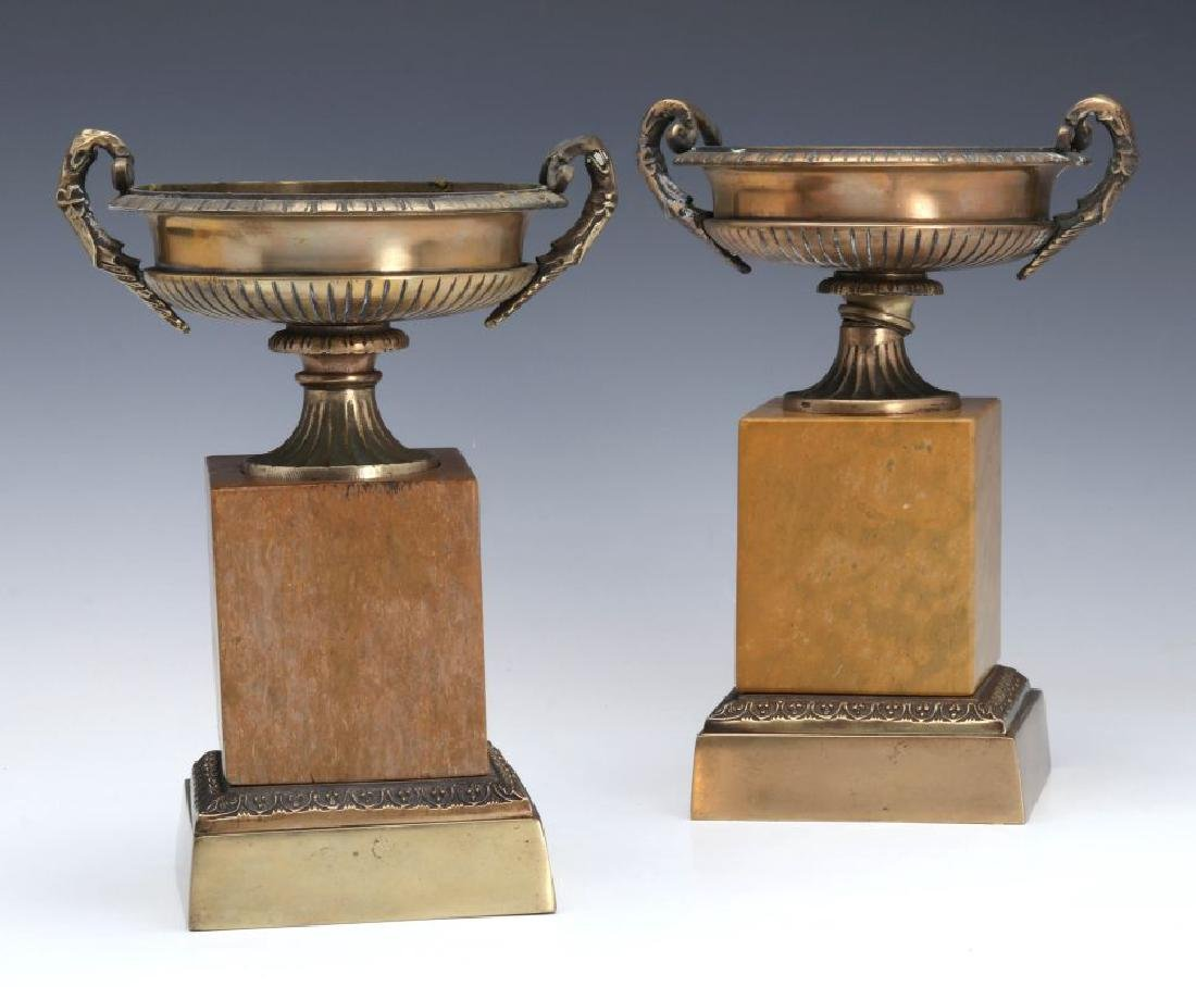A PAIR 19TH C. BRONZE AND MARBLE TAZZA