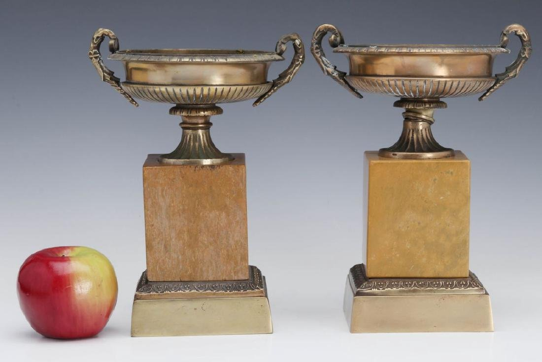 A PAIR 19TH C. BRONZE AND MARBLE TAZZA - 2