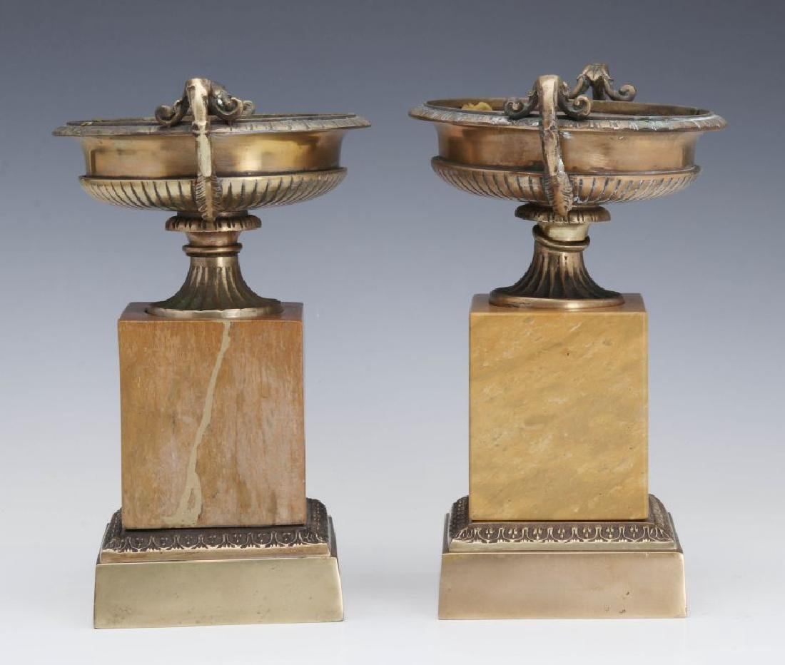 A PAIR 19TH C. BRONZE AND MARBLE TAZZA - 3