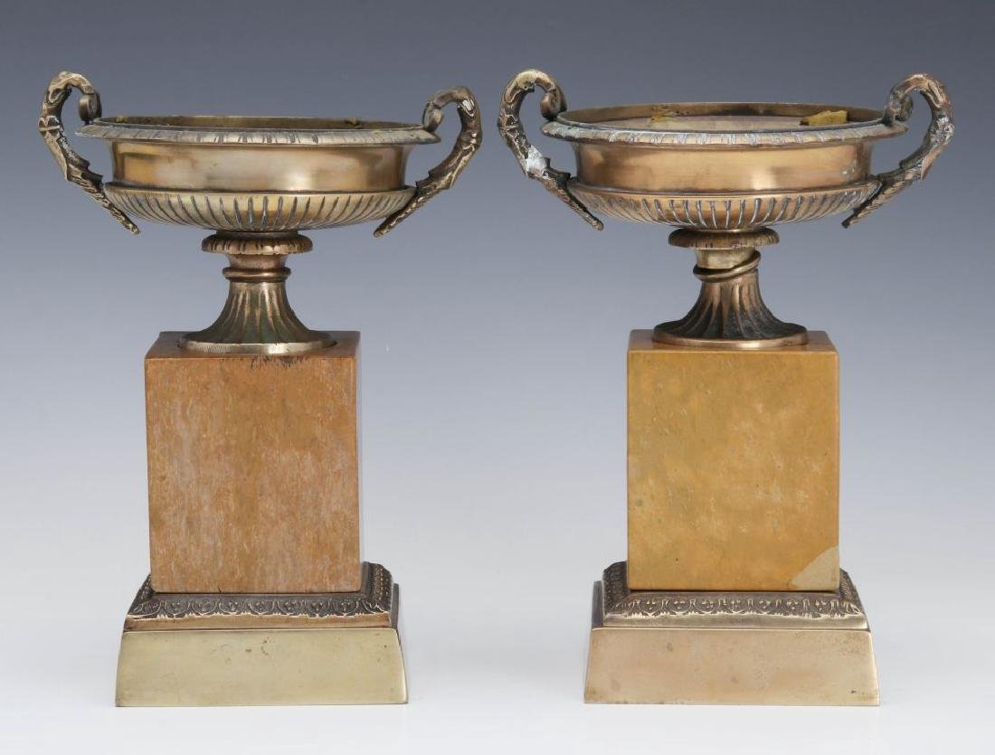 A PAIR 19TH C. BRONZE AND MARBLE TAZZA - 4