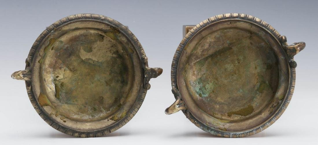 A PAIR 19TH C. BRONZE AND MARBLE TAZZA - 5