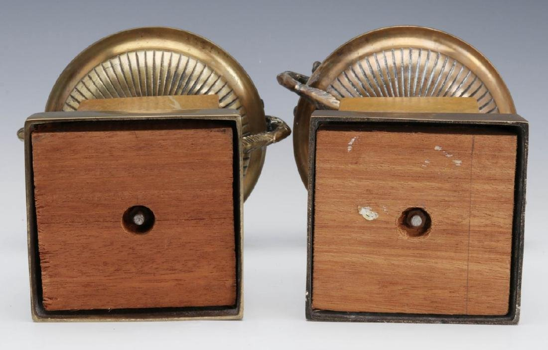 A PAIR 19TH C. BRONZE AND MARBLE TAZZA - 6