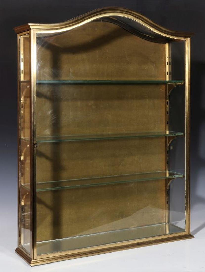 A HEAVY 20TH CENTURY SOLID BRASS DISPLAY CABINET
