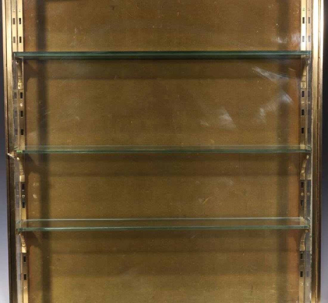 A HEAVY 20TH CENTURY SOLID BRASS DISPLAY CABINET - 4