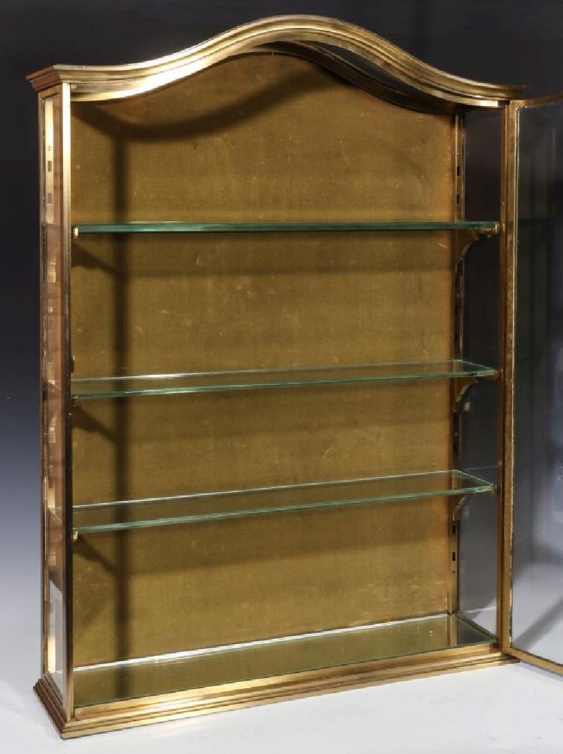 A HEAVY 20TH CENTURY SOLID BRASS DISPLAY CABINET - 9