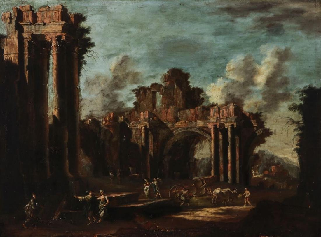 A LATE 18TH /EARLY 19TH C. CAPRICCIO OIL ON CANVAS