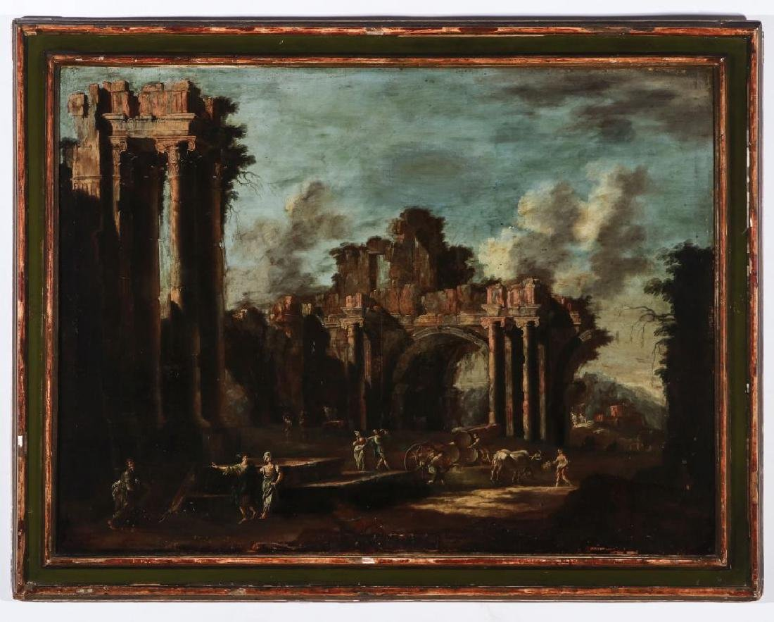 A LATE 18TH /EARLY 19TH C. CAPRICCIO OIL ON CANVAS - 2