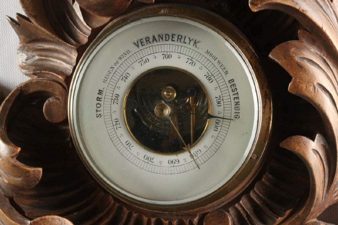 A HIGHLY CARVED 19TH C. THERMOMETER BAROMETER - 4
